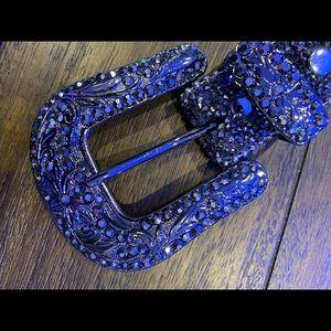 Gorgeous black crystal bling belt XL